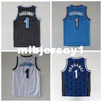 mejores camisetas de baloncesto azul al por mayor-La mejor calidad cosida # 1 Hardaway Jersey Retro Azul Blanco Negro Barato Jerseys de baloncesto de los hombres Logos bordados Ncaa College