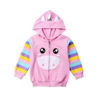 çocuklar pembe ilkbahar paltosu toptan satış-Bebek Kız Giyim Bebek Çocuk Kız İlkbahar Yaz Wear Moda Pembe Başlıklı Hoodie Ceket Coat 1PCS Çocuk Giyim Tops