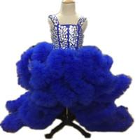 lila chinesischen stil kleider großhandel-Lila Blau Chinesischen Stil Atemberaubende Doppel Schultergurt Falten Maomao Die Abschlussfeier Hochzeit Blumenmädchen Mädchen Pageant Kleider