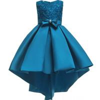 güzel mavi kızlar elbiseli elbise toptan satış-Güzel Mor Mavi Gül Çiçek Kız Elbise Boncuklu Dantel Aplike Yaylar Pageant Törenlerinde Çocuklar için Düğün Parti 2019