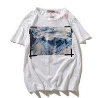 pintura a óleo ondulada venda por atacado-19SS nova pintura a óleo de onda preta faixa de algodão homens e mulheres soltas em torno do pescoço pullover casuais de manga curta T-shirt
