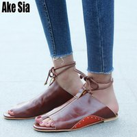 Wholesale animal rubber ring resale online - Ake Sia Summer Women Ladies Casual Lace Up Mules Babouche Beach Loafer Lazy Flat Sandals Toe Ring Flip Flops Slippers Shoes A258