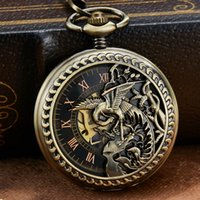 relógios de bolso exclusivos venda por atacado-Oco Escultura Bronze Único Dragon Phoenix Mecânica Pocket Watch Retro Luckly Símbolo Roman esqueleto Mecânica Pocket Watch