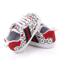 Wholesale first soft shoes for sale - Group buy Baby First Walkers Designer Newborn Heart Print Sneakers Casual Shoes Soft Sole Prewalker Infant Baby Sports Shoes