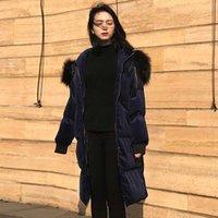 sahte kürk kore toptan satış-Kore Kadınlar Uzun Kış Ceket Hoodeis Faux Kürk Yaka Parka Ceket Lacivert Lüks Kış Ceketler Kadın Sıcak Kabarık Ceket Fermuar
