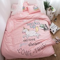 Wholesale horse king size bedding for sale - White ball Princess style Pink Horse Bedding set Queen King size Egyptian Cotton bed duvet cover fit sheet set Pillowcase
