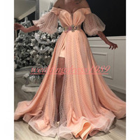 Wholesale purple red evening dress resale online - Sexy African Split Evening Dresses With Sash Half Sleeve Illusion Tulle Dubai Celebrity Formal Party Plus Size Prom Pageant Gowns