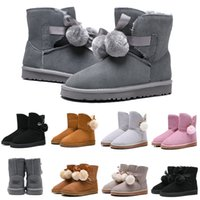 Wholesale designer bow shoes resale online - des chaussures Luxury Designer Women Boots Shoes Australia Snow Boots WGG Bailey Hairball Girl Bow Tie Ankle Knee Winter Boot