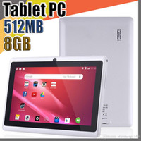 pulgadas q88 dual core tablet pc al por mayor-20X barato 2017 tabletas wifi 7 pulgadas 512MB RAM 8GB ROM Allwinner A33 Quad Core Android 4.4 Tablet PC capacitiva cámara dual facebook Q88 A-7PB