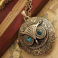 cadena larga antigua al por mayor-Collares Colgante Bronce Antiguo Ojo Azul Búho Medallón Retro Cadenas Largas Collar Colgante