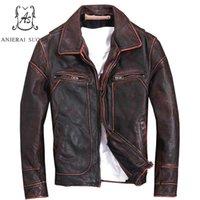 jaqueta de couro marrom vermelho venda por atacado-Plus Size genuína Top jaqueta de couro de vaca homens jaqueta bomber Vermelho marrom Do Vintage fazer velho XS-5XL curto homens casaco de roupas de Motocicleta