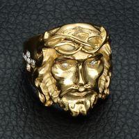 cruzes únicas venda por atacado-Mens jesus cruz anel de aço inoxidável titanium aço anel de diamante partido único punk jóias (tamanho: 8/9/10/11/12)