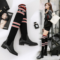 Wholesale boots leg for sale - Group buy 2019 New Fashion Women Elastic Force Socks Boots Sexy Ladies Slim Leg Over the knee Boots Girls Snow Boots Designer Brand Casual Shoes