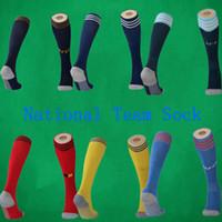 uzun futbol çorapları toptan satış-2020 Meksika Soccer çorap İspanya Diz Yüksek pamuk futbol çorap Arjantin spor çorap Erkek Kalınlaşmak Havlu Alt 20 21 Belçika uzun hortum