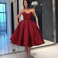 Wholesale white floor length evening dresses for sale - Group buy 2019 Elegant Burgundy Prom Dresses Sweetheart Knee Length A Line Formal Evening Occasion Prom Party Dresses Custom Made