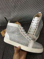 ingrosso le scarpe da ginnastica delle marche-Nome Marca Superstar Sneakers uomo fondo rosso All'aperto Moda di alta qualità Glitter cristallo Stringate alte Scarpe casual da uomo Taglia 46