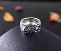 Wholesale pure silver gifts for men for sale - Group buy New arrival S925 pure silver band ring with lion head shape design and logo for women and man wedding jewelry gift box PS