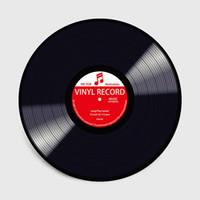 tapetes redondos vermelhos venda por atacado-Moda Modern Black Vinyl Record Vermelho Verde Amarelo Cadeira Redonda Anti-slip Mat Decor Sala de estar Quarto Tapete Tapete