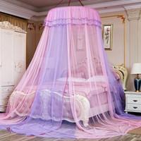 yeni perde stilleri toptan satış-Yatak gölgelik Çift Renkli Yuvarlak Gölgelik Dantel Prenses Tarzı Cibinlik Yatak Perdesi Netleştirme yataklar çocuklar Yeni