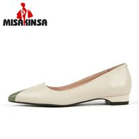saliendo con zapatos de cuero al por mayor-MISAKINSA Mujeres Colores de Caramelo Zapatos de cuero Reales de los planos de las señoras de las mujeres que fechan el partido de alta calidad zapatos de los planos simples Tamaño 33-40