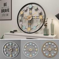40CM Silent Round Wall Clock 3D Retro Nordic Metal Roman Numeral DIY Decor Wall Clock for Home Living Room Bar Cafe Decor
