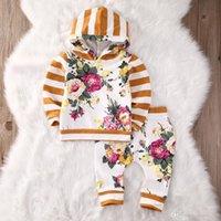 ingrosso set di jumper del neonato-Baby Autumn Winter Set di abbigliamento Neonati Toddlers Rose Floral Hooded Jumper Top pantaloni lunghi Due pice Sets Ragazzi manica lunga Oufits
