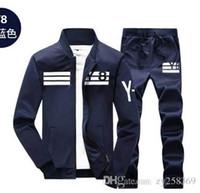 moda de rua coreana para homens venda por atacado-Designers Faça Sportswear dos homens Casuais Jaqueta de Beisebol de Manga Longa dos homens de Fitness Street Set Moda Coreano Vestuário 2 Peça Set