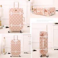 Wholesale vintage leather luggage for sale - Group buy Designer quot quot Spinner Wheels Pink Grating Valise Bagages Pu Leather Suitcase Women Trunk Vintage Luggages Rolling Luggage for Girls