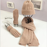 628f815a78100 Adult hat scarf gloves set Fashion autumn winter knitted solid color warm Ski  Beanie Cap scarf gloves KKA6395
