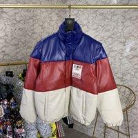 mangas destacáveis para baixo jaqueta venda por atacado-2020 Outono Inverno Homens Mulheres Itália Bordados Mundial da Terra Ampla zipper destacável mangas Vest Jacket Moda retalhos de couro Down Jacket