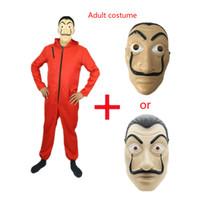 papel xxl al por mayor-Salvador Dali Película Disfraz Dinero Heist The House of Paper Fiesta de Halloween Cosplay Disfraces con máscara facial
