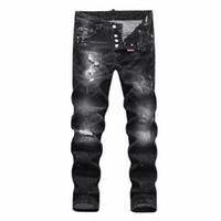 estilos de jeans para homens venda por atacado-Homens Angustiado Jeans Rasgado Designer de Moda Em Linha Reta Motocicleta Jeans Causal Denim Calças Streetwear Estilo mens Jeans frete grátis SQL24