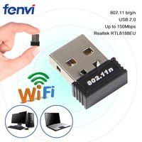 ingrosso collegamento di rete wireless-150Mbps Mini Wireless USB Wi-Fi LAN Dongle Realtek RTL8188EU 150M 802.11b / g / n Scheda di rete per il computer portatile del PC desktop 150Mbps Wifi Mini