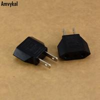 adaptadores elétricos universais venda por atacado-Amvykal universal américa eua viajar ac power plug tomada elétrica 2 pinos rodada da ue para nos plugue adaptador conversor