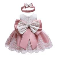 ingrosso vestiti per la principessa di battesimo-Infant Dress 2019 Summer Baby Princess Abiti da festa per le neonate Battesimo vestito 1 anno Compleanno Baby Dress vestiti MX190719