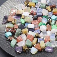 ingrosso giada-Irregolare pietra naturale delle collane del pendente della pietra preziosa agata di cristallo di quarzo turchese Malachite Jade pendenti Amethyst con le catene di cuoio M778F