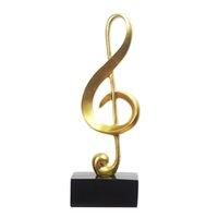 decoração de notas musicais venda por atacado-Nova Resina Notas Musicais Ornamento Figura G Clef Estátua Home Office Sala de estar Decoração Presentes-Ouro