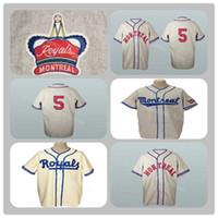 velho basebol venda por atacado-Vinatge Montreal Royals Estrada Velha Flannels Estrada 9 Jackie Robinson Jersey 1946 Cinza 5 Roberto Clemente 1954 Creme Camisola De Beisebol Personalizado