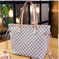bej torba poşetleri toptan satış-(Seçim için 3 renk) Ücretsiz kargo !!! Klasik tarzı PU Deri omuz tote çanta ile küçük bir cüzdan M40997 Bej ekose