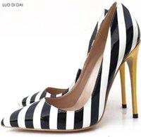 ingrosso abiti da sposa in zebra-2019 moda donna zebra stampa pompe scarpe da sposa blackwhite pompe a punta tacchi vestito da partito scarpe sexy stiletti