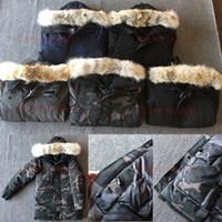 дешевые королевские синие пkers for windows оптовых-Top Coyote Fur Мужская зимняя куртка Канадская северная мужская куртка с гусиным пухом Puffer Parka Тренчи Открытый теплый Doudoune Homme Lanford E13