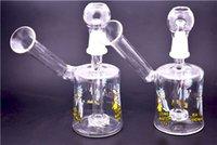 ingrosso divertente olio rig-Creativo divertente bicchiere Beaker Bong Mini Dab a nido d'ape in vetro acqua Bong 14,4 millimetri Percolator riciclatore Bong Oil Rig
