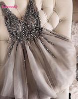 gold-schein-shorts großhandel-Sparkle Kristall Perlen Kurze Cocktailkleider Grau Heimkehrkleid Doppel V-ausschnitt Sexy Glänzende Mini Prom Kleider Abiye Vestidos