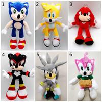 muñecas sonoras juguetes al por mayor-26cm juguetes de peluche de Sonic Sonic the Hedgehog Los animales de peluche muñecas Sonic hedgehog Knuckles Los animales de peluche juguetes de peluche de los niños regalo B1