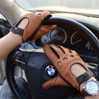 sonbahar eldiven erkek toptan satış-Moda Sonbahar Geyik Derisi Eğlence Erkekler Hakiki Deri Eldiven Bilek Nefes Çizgisiz 100% Geyik Derisi Sürüş Eldiven Ücretsiz Kargo