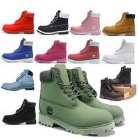 botas de piel de hombre al por mayor-Tiimberlandss Botas para la nieve 2018 tacones clásicos de gamuza hombres, mujeres, botas de invierno, piel caliente, felpa, botines, zapatos de mujer, zapatos con cordones calientes