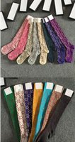 medias de media caliente al por mayor-15 colores Señoras Calcetines de seda dorada para mujer más nuevos Clásico Letra G gc Medias de pierna de calcetín Venta caliente Marca Señoras de punto con caja