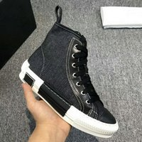 heiße verkäufe spitzenart und weiseentwerfermarke groihandel-Hot Sale Männer Frauen Marken-Designer High Top verursachende Schuhe Fashion Black White Denim Canvas Flats Sneakers Plattform Freizeit-Schuhe 35-45