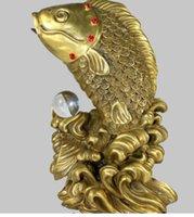 ingrosso porcellana fortunata statue-NUOVA Cina Fengshui bronzo pesce cristallo perlina fortunato benedizione statua R0713