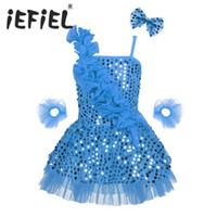 ingrosso abito di balletto latino-Paillettes Bambini Ragazze Bambini Ballet Gowns Dress Dance Dance Latin Performance Stage Sparking Party Dress Tutu Costume Abbigliamento